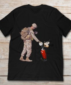 Mickey Shakes Hand With A Soldier