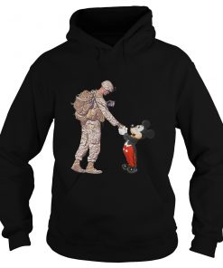 Mickey Shakes Hand With A Soldier Hoodie