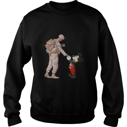 Mickey Shakes Hand With A Soldier SweatShirt