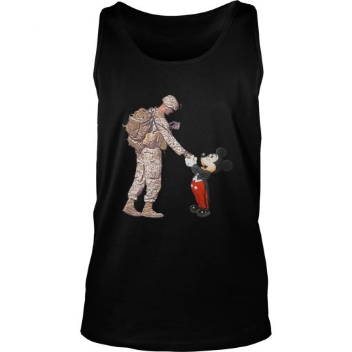 Mickey Shakes Hand With A Soldier Tank Top