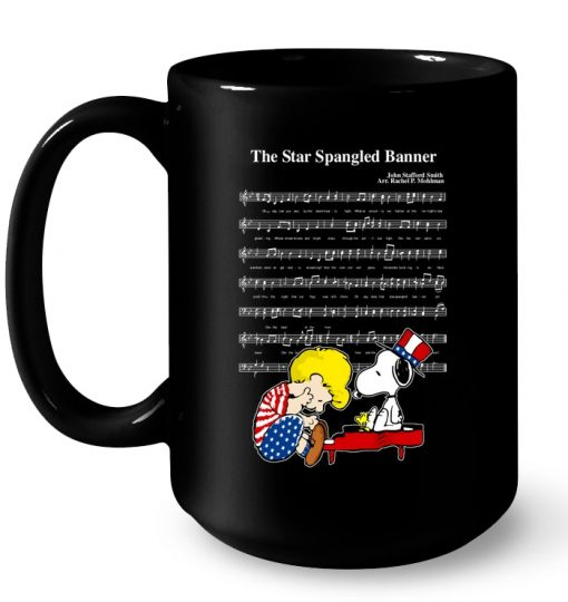 The America National Anthemn Snoopy And Charlie Brown Mug