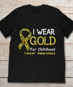 I Wear Gold For Childhood Cancer Awareness Gold Butterfly Ribbon