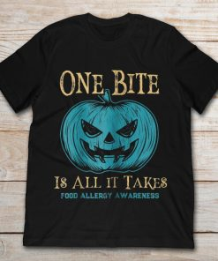 One Bite Is All It Takes Food Allergy Awareness Pumpkin Halloween