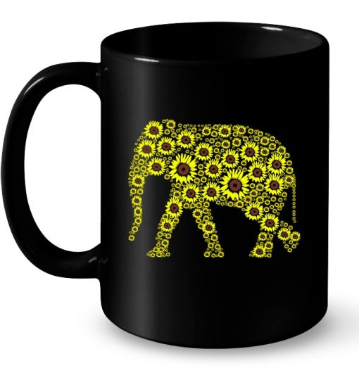 Floral Elephant Sunflower Mug