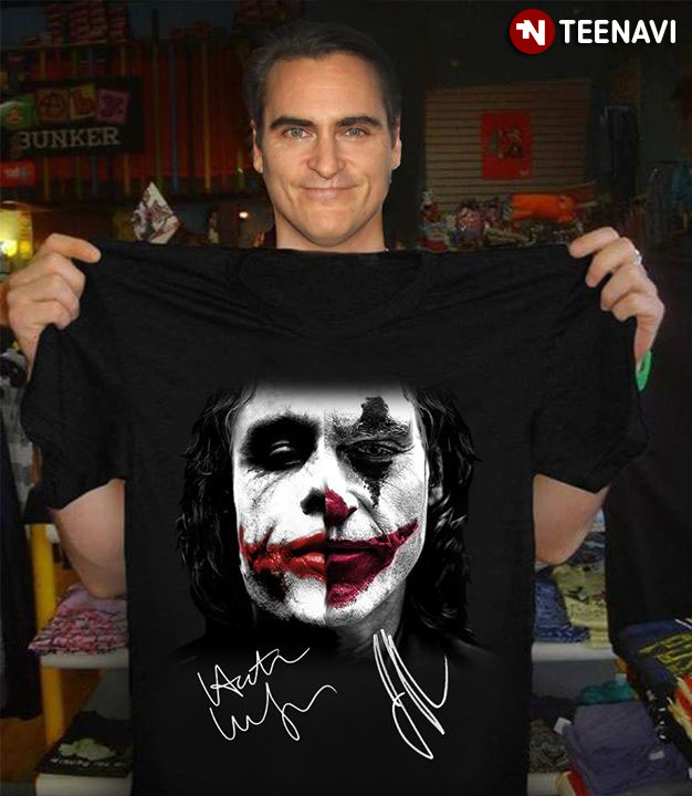 Joker Heath Ledger And Joaquin Phoenix Signatures T-Shirt