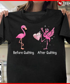 Funny Flamingo Before Quilting And After Quilting